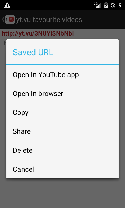 Screenshots of yt.vu YouTube url shortener for Android