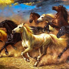 Raging Horses by Rodolfo Dela Cruz - Abstract Fine Art ( abstract, animals, horse, fine art, animals in motion, pwc76, motion, painting, animal )