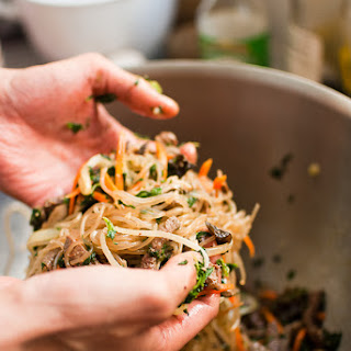 Japchae (Korean cellophane noodles with vegetables and beef)