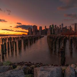by Gordon Koh - City,  Street & Park  Skylines ( brooklyn, night, nightscape, manhattan, cityscape, manhattan skyline, bridge, long exposure, brooklyn bridge, new york, blue hour, architecture )