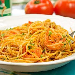 Ouzo Flavored Shrimp Tomato Pasta.