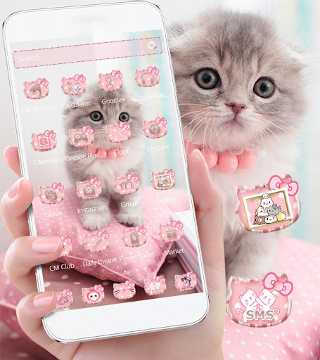 Pink Cute Kitty Cat Theme  screenshots 12