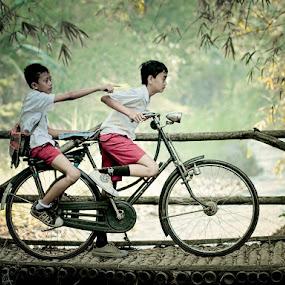 Let's go .....!!!!! by Monica Anantyowati - Babies & Children Children Candids ( human..bicyle...transportation ...student...boys )