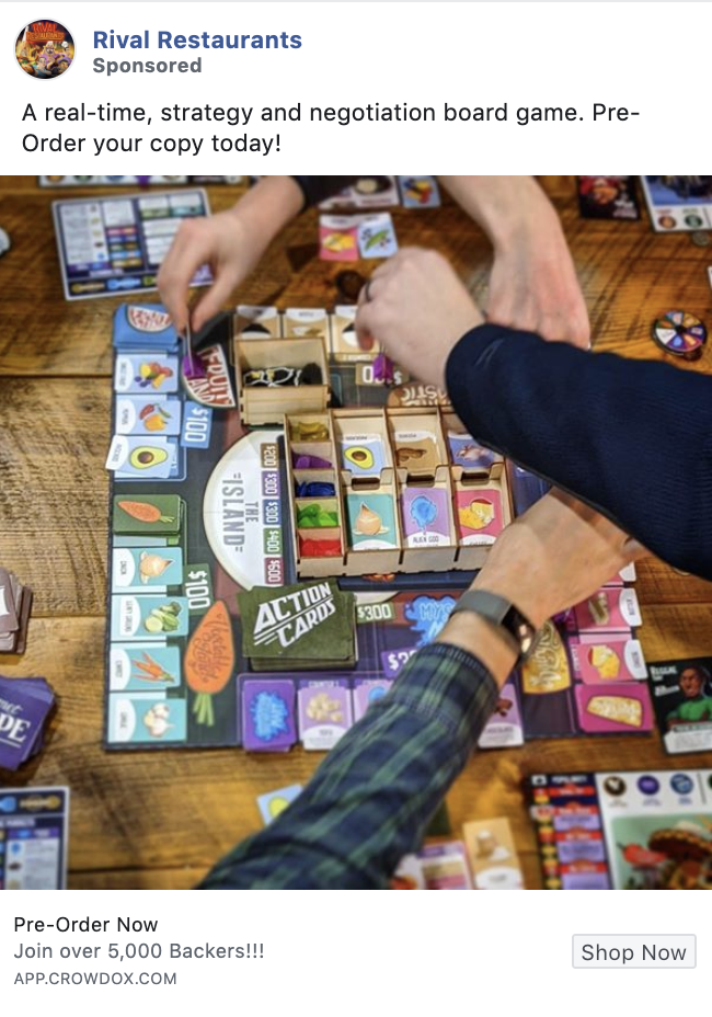 Rival Restaurants Board Game Facebook Advertising