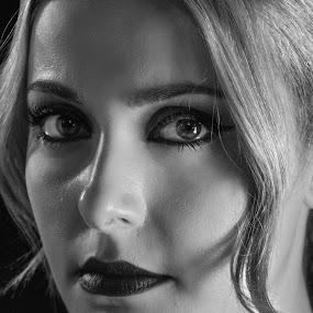 Natasha by Tasos Triantafyllou - Black & White Portraits & People ( b/w, black and white, woman, nosmlile, pretty,  )