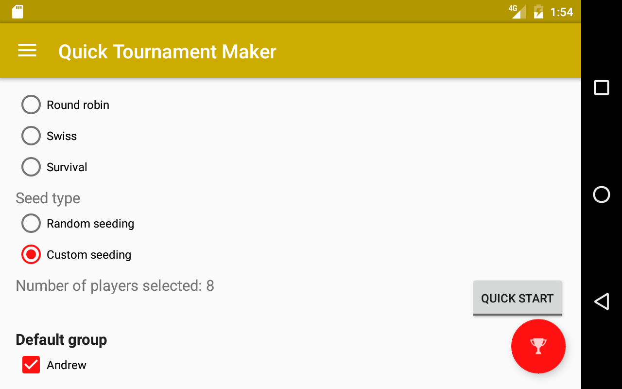 quick tournament maker