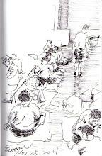 Photo: 工場的走道2011.11.25鋼筆 監獄工場裡的工作除了桌子,就連走道地板都得拿來用,一群人席地而坐,專注地工作起來....