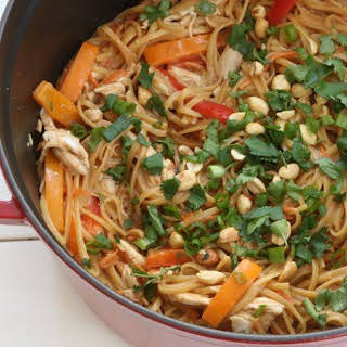 One-Pot Thai Peanut Chicken Pasta.