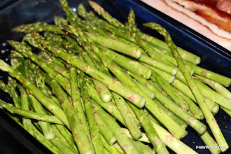 Photo: Asparagus tossed with salt, lemon peel, black pepper, and roasted garlic olive oil