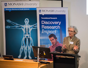 Photo: Prof Christina Mitchell describing her own research and the serendipitous discovery of a tumour blocker in breast cancer. http://www.med.monash.edu.au/cecs/events/2015-tr-symposium.html