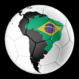 by Jorge A Bohorquez S - Sports & Fitness Soccer/Association football ( play, continent, symbol, game, brazil, activity, south, icon, isolated, exercise, competition, recreational, professional, score, white, championship, south america, shoot, element, goal, league, equipment, leather, traditional, field, closeup, background, soccer ball, circle, athletic, object )