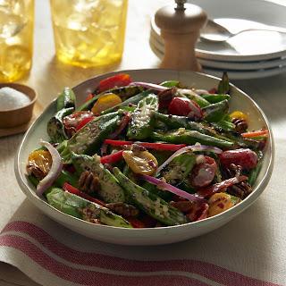 Tim Love's Charred Okra, Tomato and Pecan Salad with Balsamic Mayonnaise.