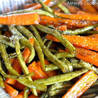 Honey Balsamic Glazed Roasted Carrots and Green Beans (Gluten Free).