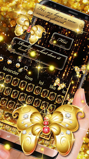 SMS Gold Butterfly Shining Keyboard Theme for PC