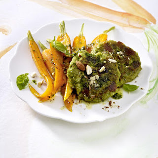 Broccoli Rissoles with Pesto Carrots