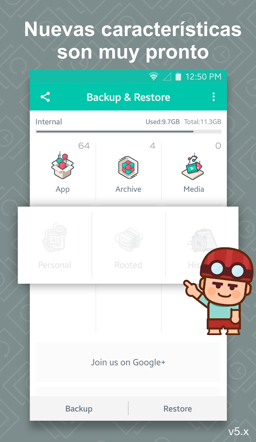 App Backup & Restore: captura de pantalla