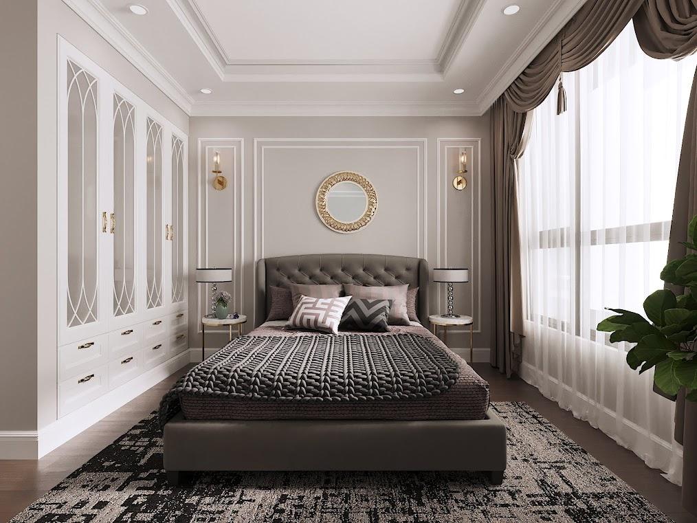 Mẫu thiết kế phòng ngủ căn hộ chung cư sang trọng với gam màu nâu trầm, bố trí cây xanh ở góc phòng kết hợp cùng những ô cửa kính lớn rất tốt cho sức khỏe, phù hợp cho người trung tuổi