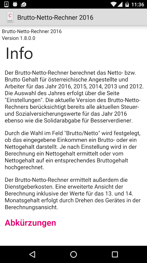 Brutto Netto Rechner 2016- screenshot