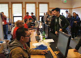 Photo: The registration table at Bellingham Technical College. The line goes out of the door.