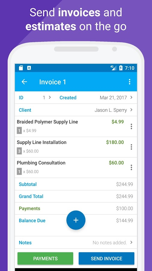 Probooks professional invoice maker android apps on for Invoice builder app