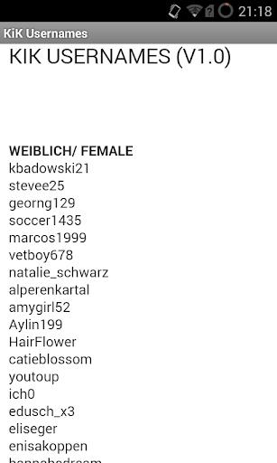 KiK Usernames