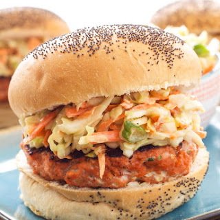 Teriyaki Salmon Burgers with Asian Slaw.