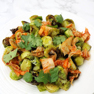 Roasted Brussels Sprouts with Kimchi.