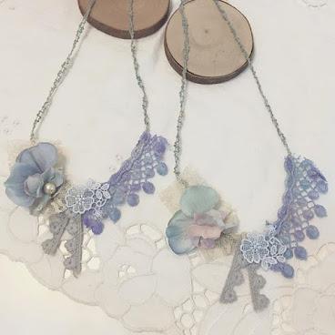 紫藍 染色 Lace 布花 森系 Necklace 頸鏈