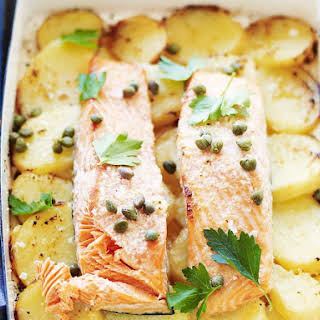Lemon Garlic Salmon with Potatoes.