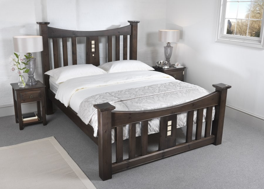 The Mackintosh Bed is the star of a show juxtaposed against a cool, grey colour palette