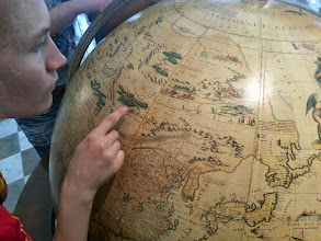 """Photo: We came across this super cool early 18th century globe. We had lots of fun locating Chinese cities on it. We also noticed that a huge section of Russia was not called """"Russia"""" at all by most Europeans. It was called """"Tartaria."""" Alya, a Tartar, had not heard of this before. We were both tickled pink by it! (http://bit.ly/13faC1H)"""