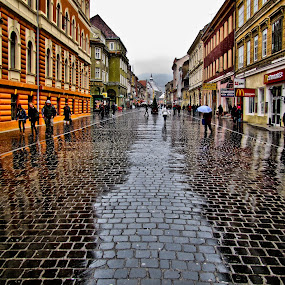 Str. Republic by Comsa Bogdan - City,  Street & Park  Street Scenes ( mirrors, europe, brasso, street, kronstadt, historic district, romania, rain, street photography, brasov )