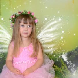 Angel in Pink by Chris Cavallo - Digital Art People ( pink, child portraits, digital manipulation, enchanted, children, wings, portrait, fairy,  )