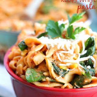 One-Skillet Red & White Pasta with Spinach.