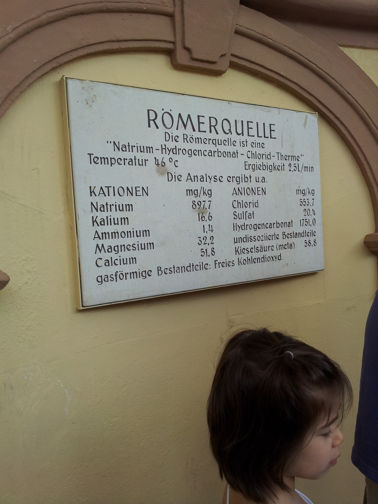 Photo: Römerquelle (Römer's source), Bad Ems, Germany. -- Chemical composition of the source.