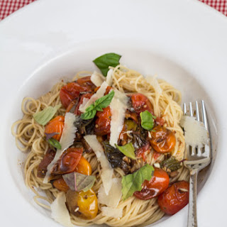 Balsamic Roasted Grape Tomatoes Over Angel Hair