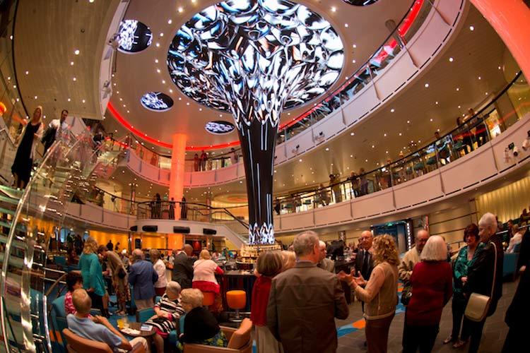 The Dreamscape on Carnival Vista shows digital jellyfish swimming up the inventive  installation.
