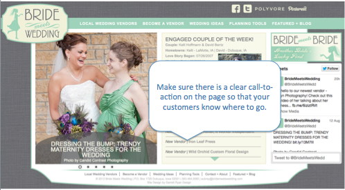 Bride Meets Wedding Call To Action