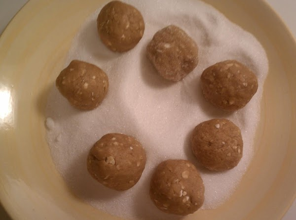 Form into balls and roll in the additional sugar.