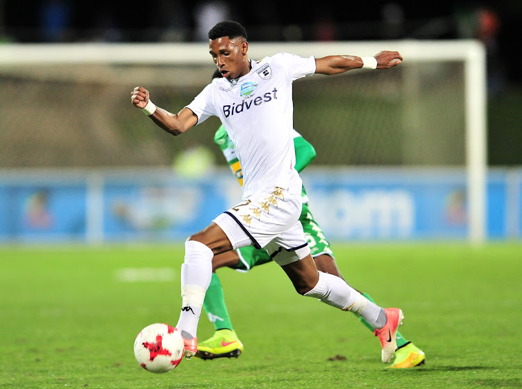 Bidvest Wits' left winger Vincent Pule in action during the 2017 Telkom Knockout final football match against Bloemfontein Celtic at Princess Magogo Stadium, Durban on 02 December 2017.