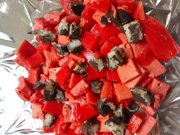 When firmed up remove from refrigerator and cut jello into squares, add pomegranate seeds,...