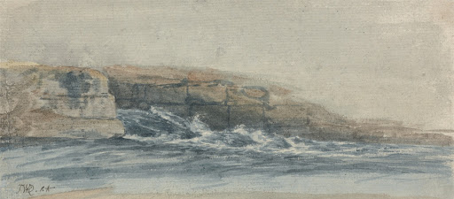 Sea Breaking on Stony Cliffs at Left