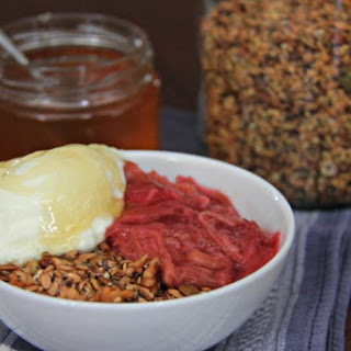 Simple Home Made Muesli With Yogurt Rhubarb And Honey