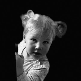Peekaboo! by Vicki Clemerson - Babies & Children Child Portraits ( toddler, black-&-white, girl, female, portrait, child,  )