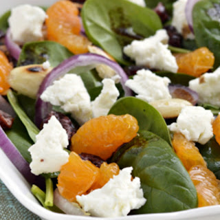 Mandarin Orange, Goat Cheese and Spinach Salad.