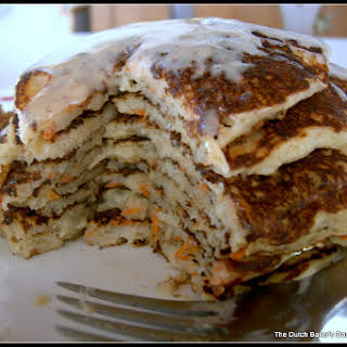 Carrot Cake Pancakes with Ginger-Maple Cream.