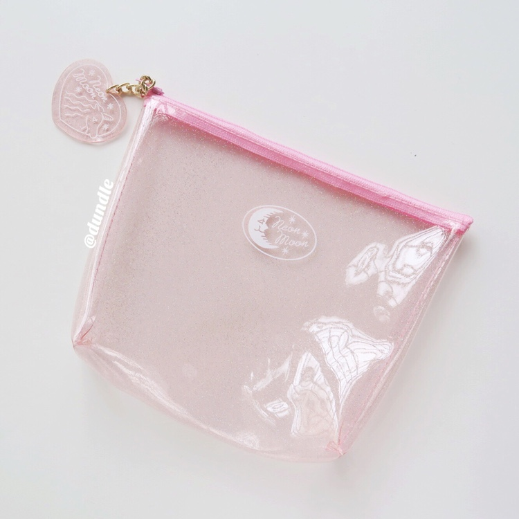 Neon Moon Pink Glitter Pouch by dundle