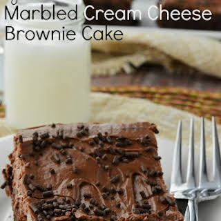 Gluten Free Marbled Cream Cheese Brownie Cake.