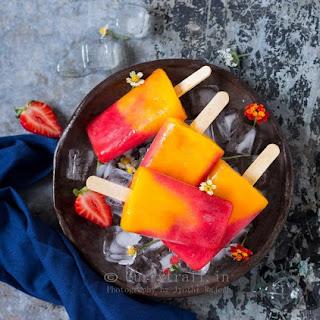Strawberry Mango Popsicles | 2 Ingredient Popsicles