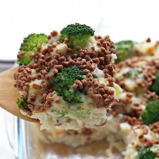 Chicken Brown Rice Casserole with Creamy Cauliflower Sauce.